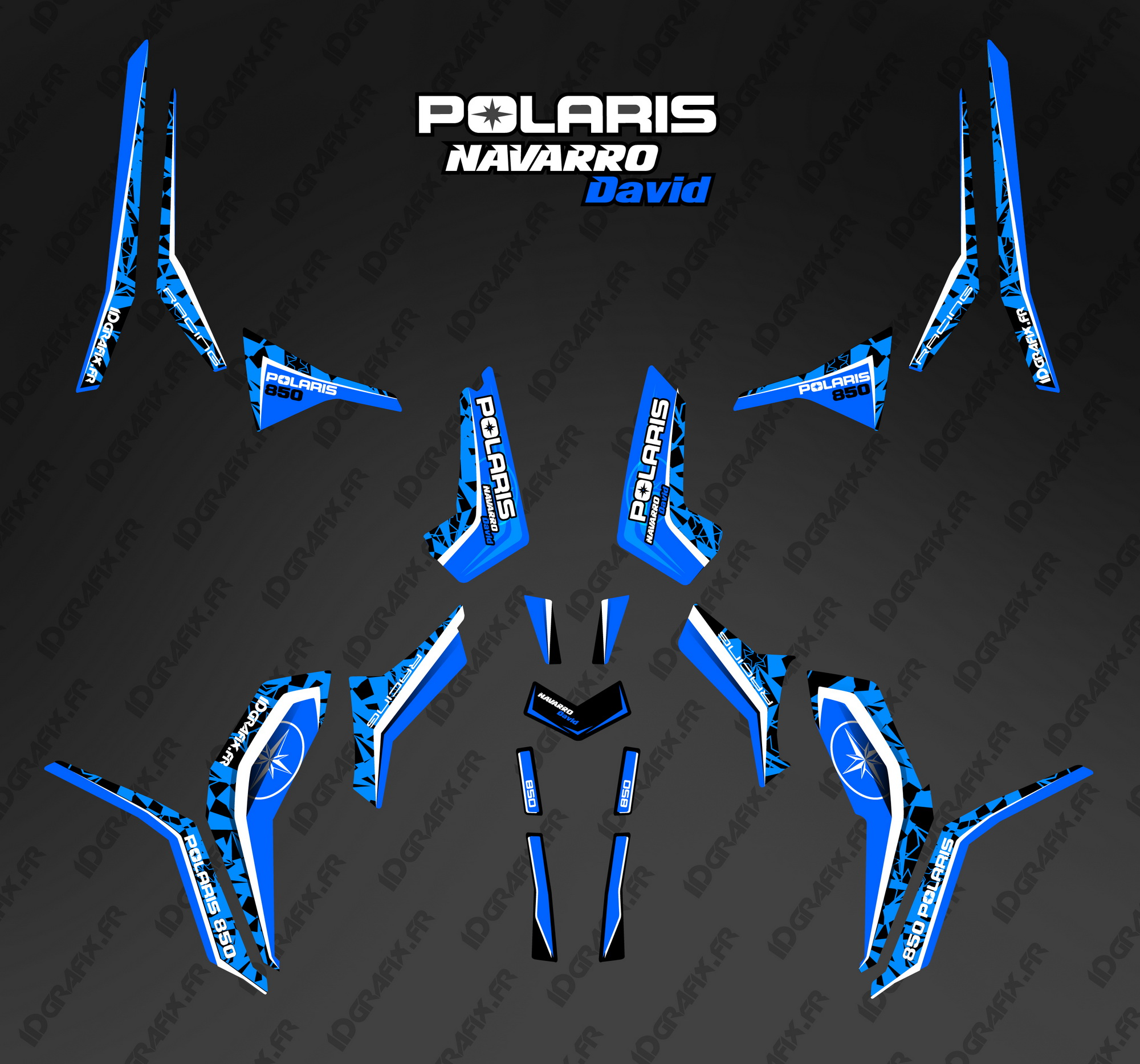 Kit décoration nouveau Polaris 850 Scrambler bleu 2014 \u2013 Idgrafix.fr