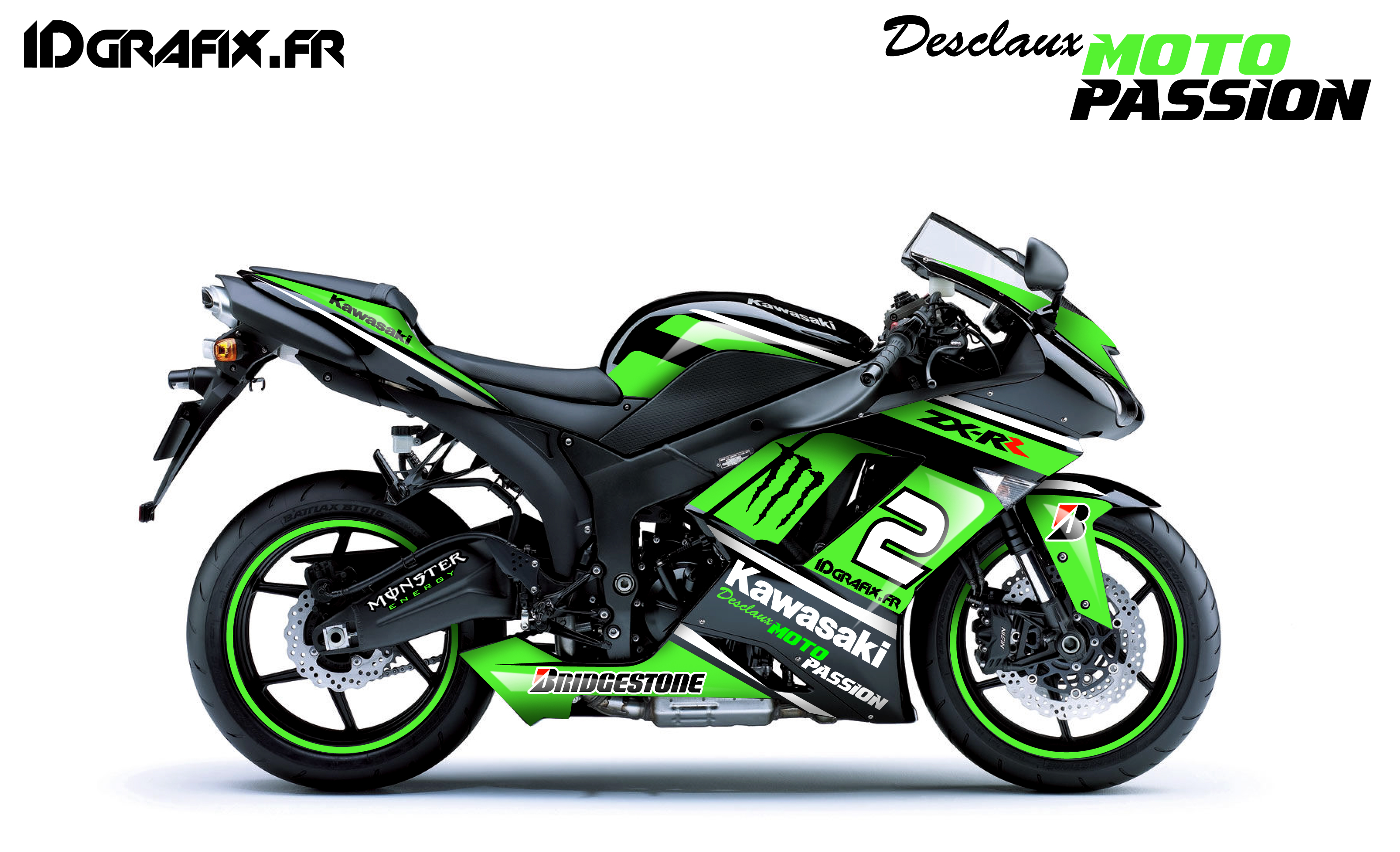 Kit déco pour Desclaux Moto \u2013 Kawasaki ZX6R Race Replica \u2013 IDgrafix.fr